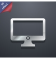 Computer widescreen monitor icon symbol 3d style vector