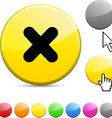 Cross glossy button vector
