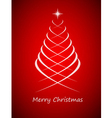 Simple christmas tree on red background vector