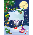 Christmas and new year card with flying rein deers vector