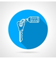 Flat round icon for key with tag vector