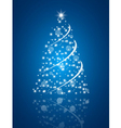 Simple christmas tree on blue background vector