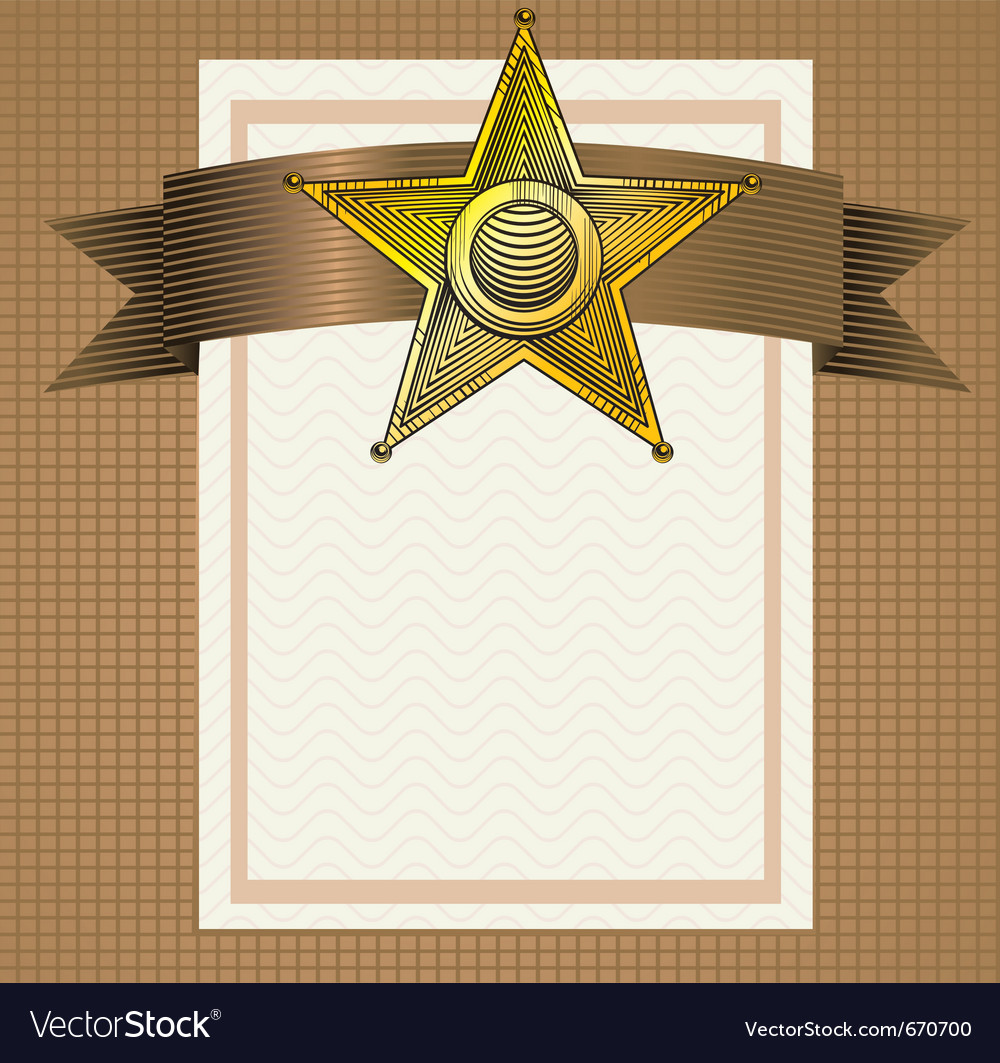 Backround with sheriff badge in engraving style vector | Price: 1 Credit (USD $1)