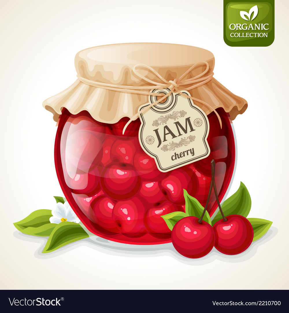 Cherry jam jar vector | Price: 3 Credit (USD $3)