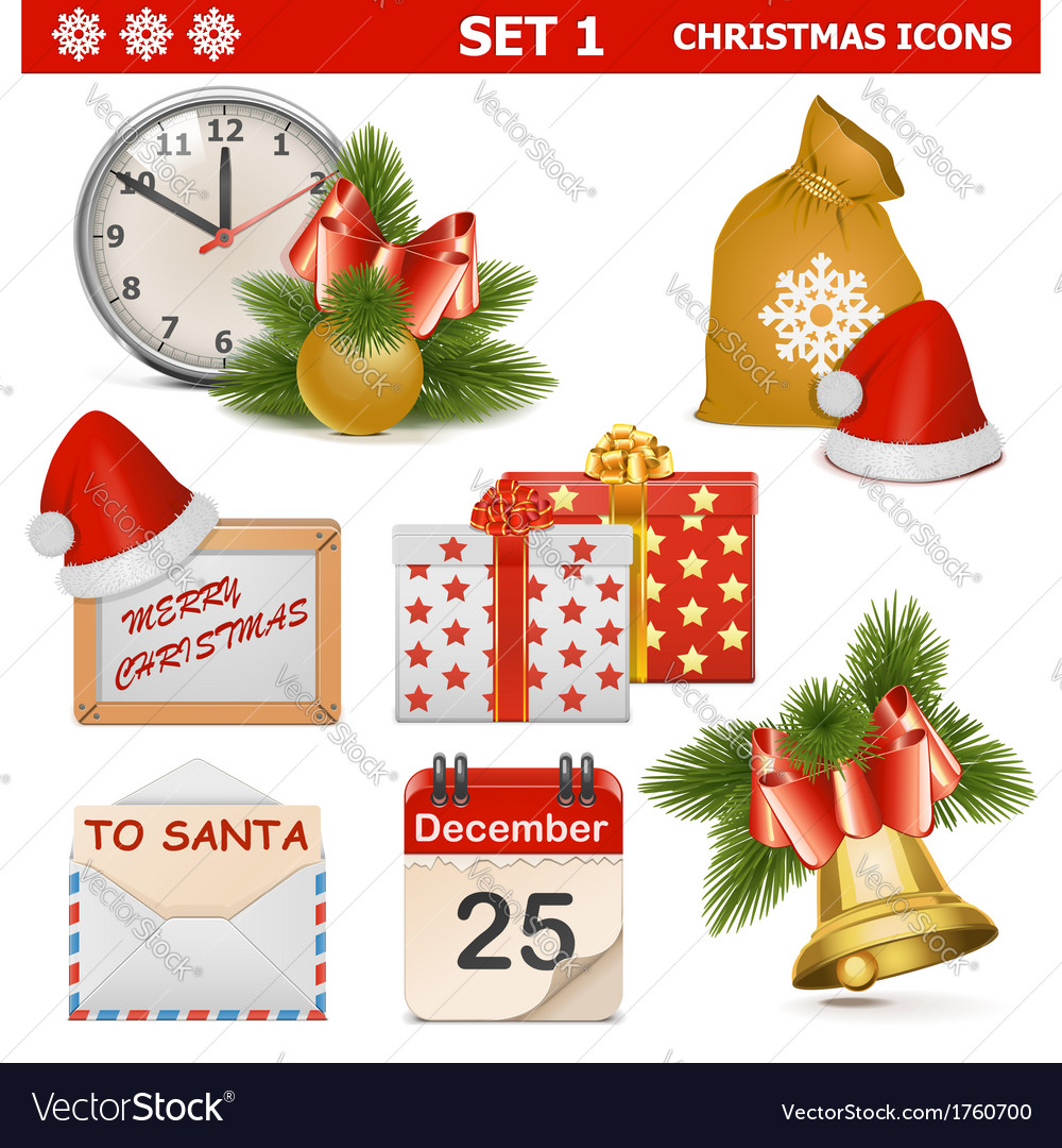 Christmas icons set 1 vector | Price: 1 Credit (USD $1)