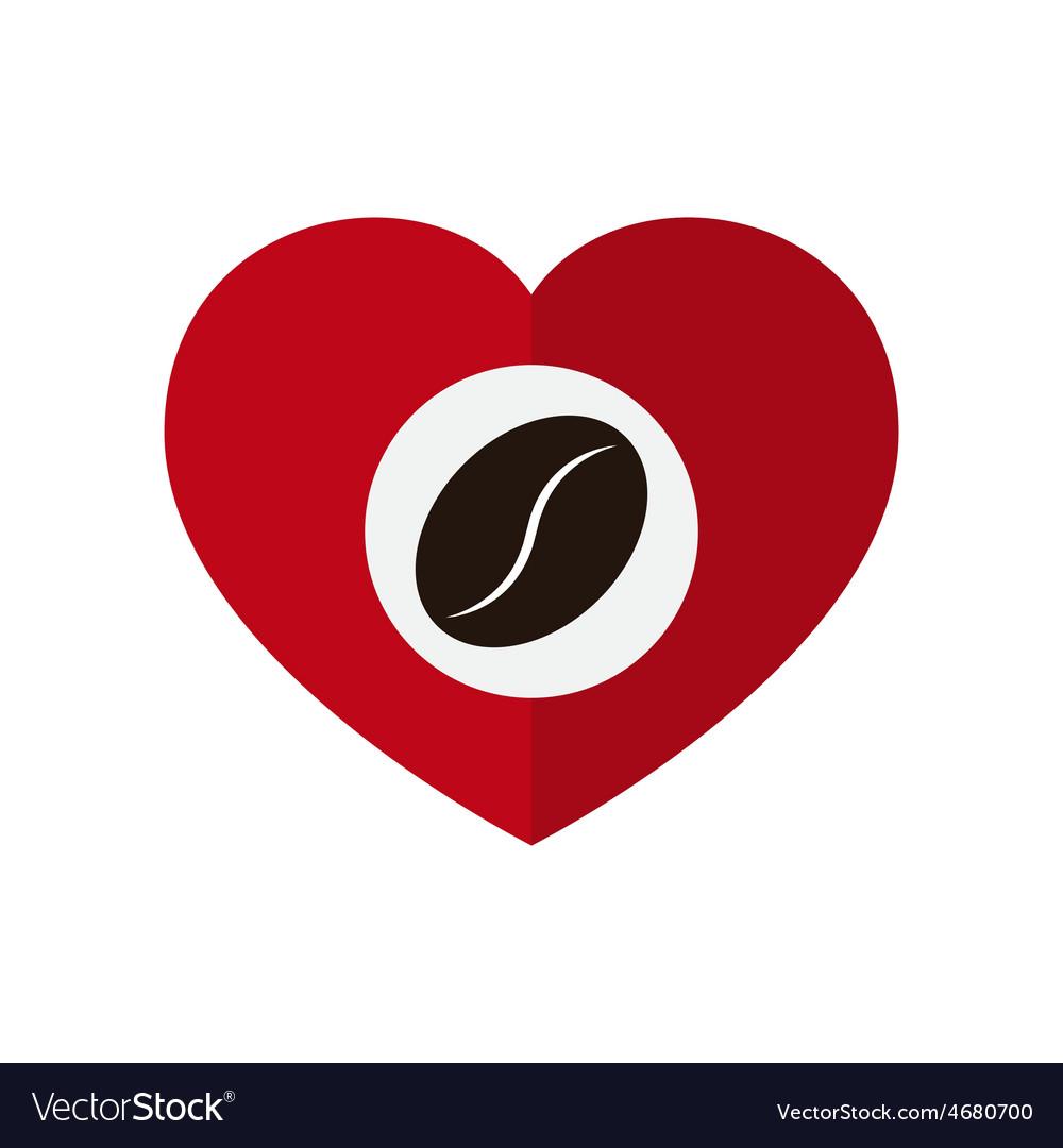 Coffee bean in love heart vector   Price: 1 Credit (USD $1)