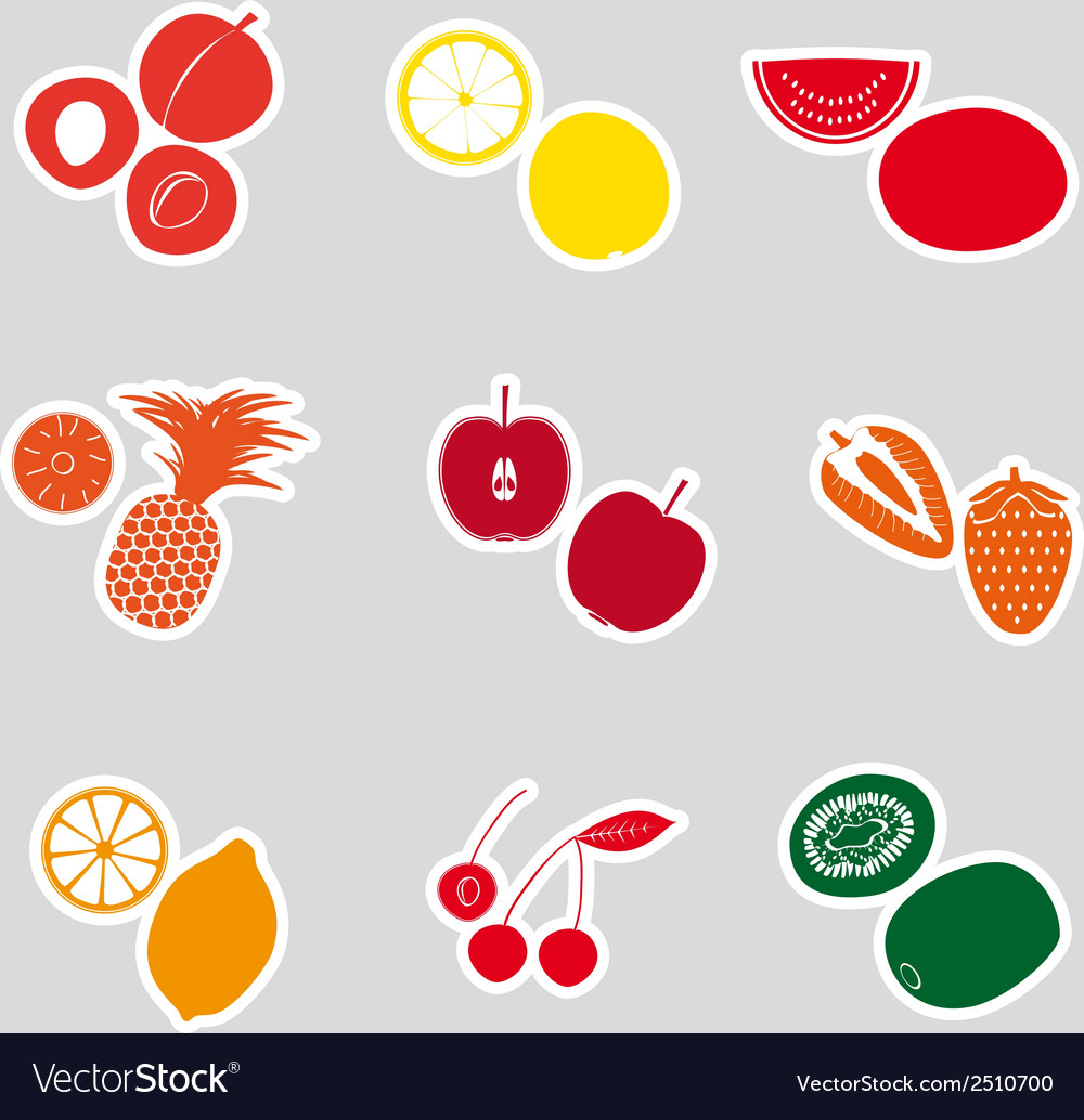 Color fruits and half fruits stickers eps10 vector | Price: 1 Credit (USD $1)