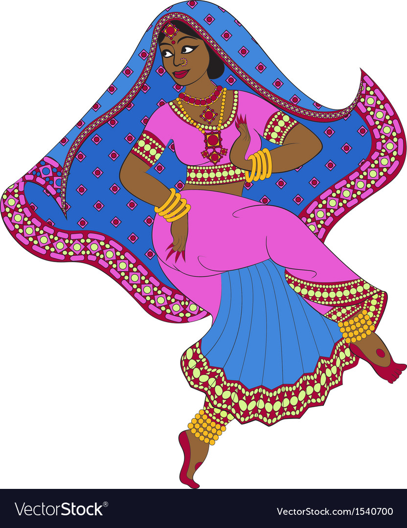 Dancing indian woman vector | Price: 1 Credit (USD $1)