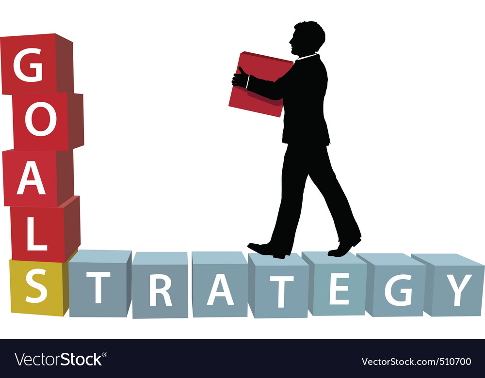 Goals strategy man builds business blocks vector   Price: 1 Credit (USD $1)