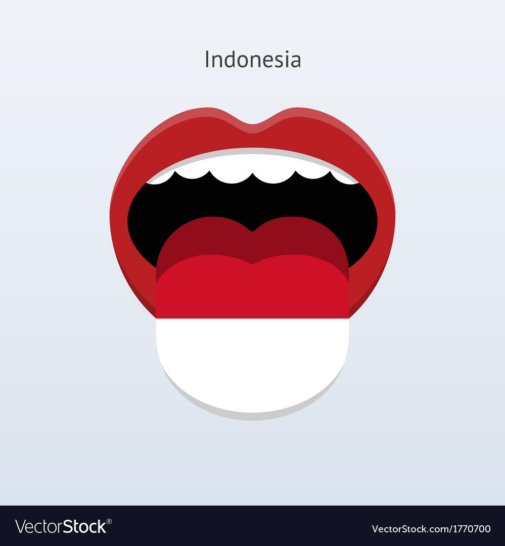 Indonesia language abstract human tongue vector | Price: 1 Credit (USD $1)