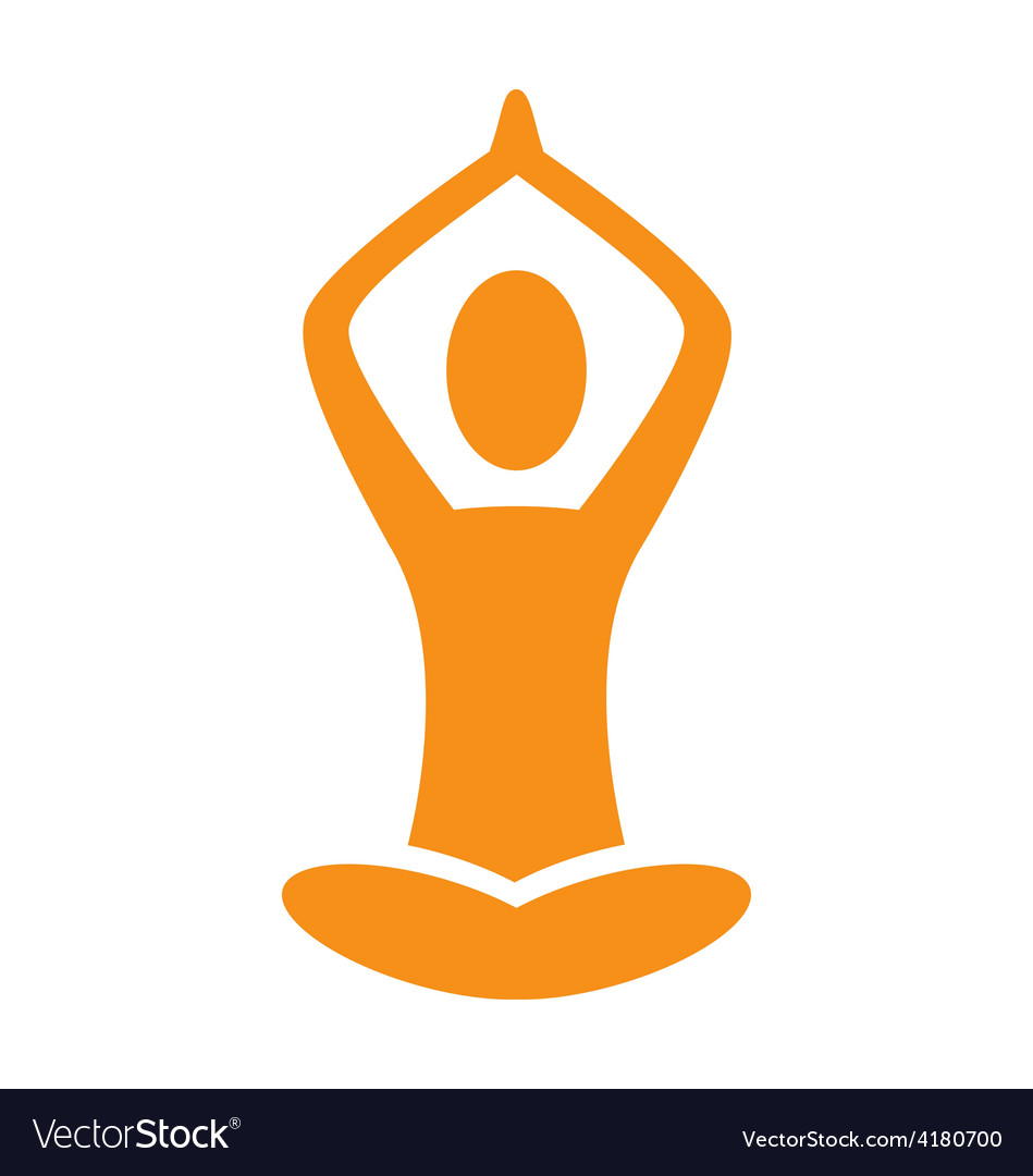 Orange emblem yoga pose isolated on white vector | Price: 1 Credit (USD $1)