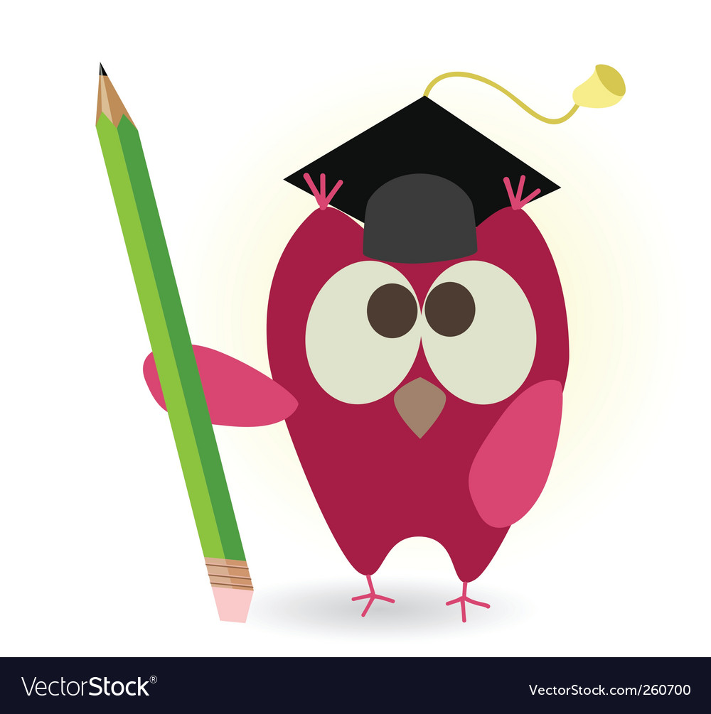 Owl and pencil vector | Price: 1 Credit (USD $1)