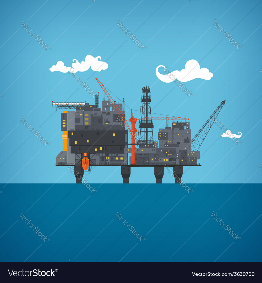 Sea oil platform vector | Price: 1 Credit (USD $1)
