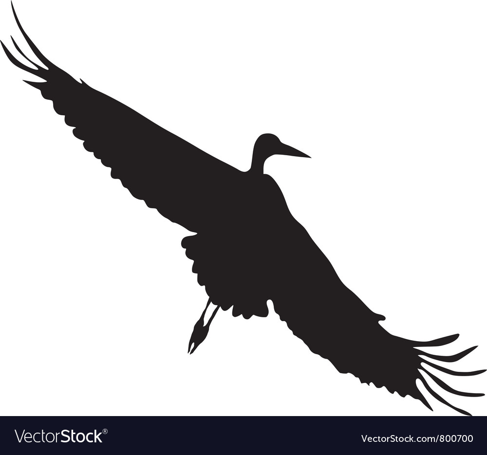 Silhouette of flying crane vector | Price: 1 Credit (USD $1)