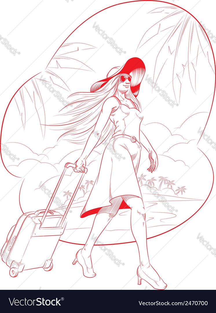 Sketch of woman tourist travelling with beach vector | Price: 1 Credit (USD $1)