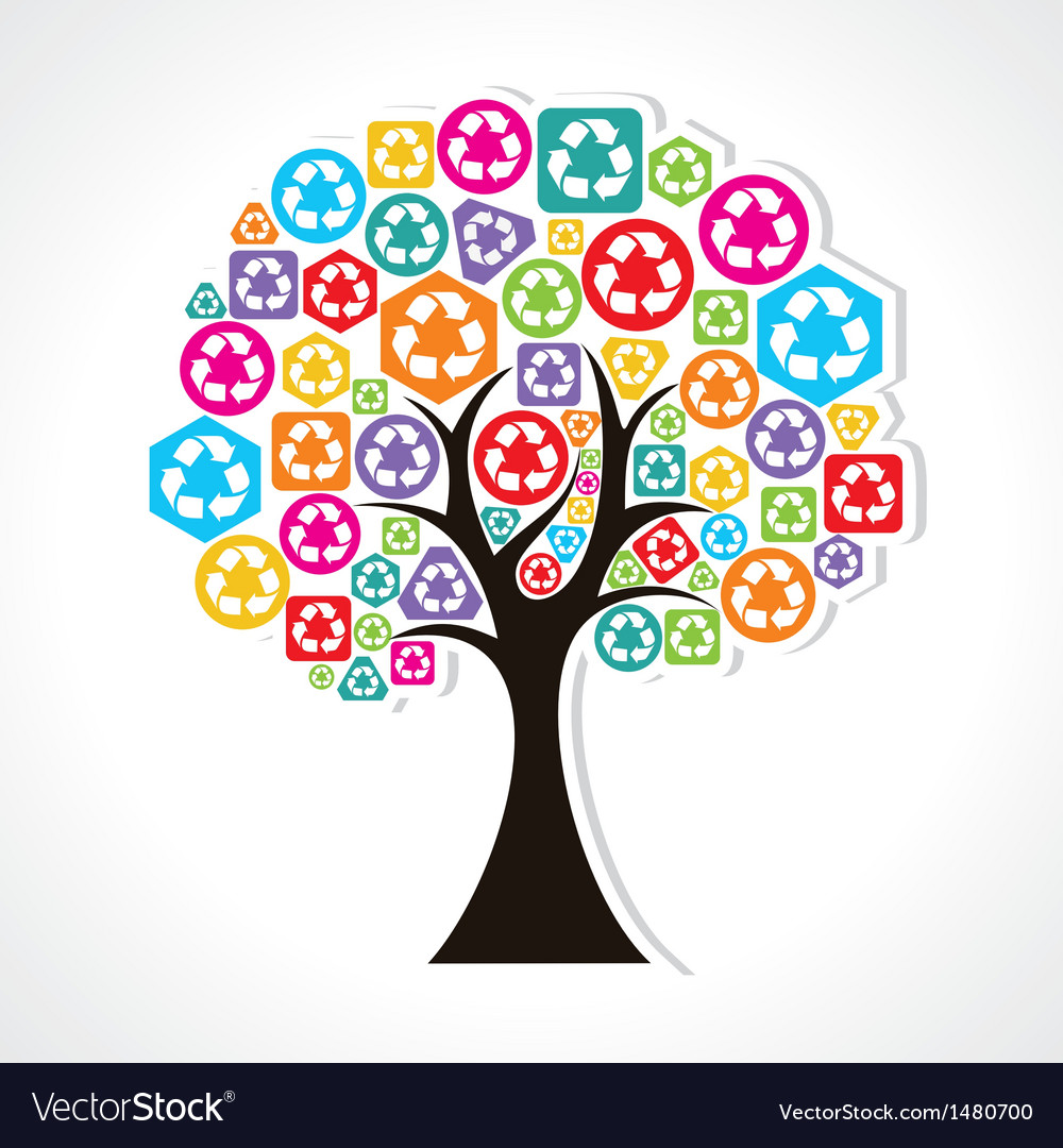 Tree forming by colorful recycle icons vector | Price: 1 Credit (USD $1)