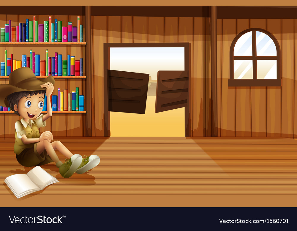 A young boy reading inside the room with a vector | Price: 3 Credit (USD $3)