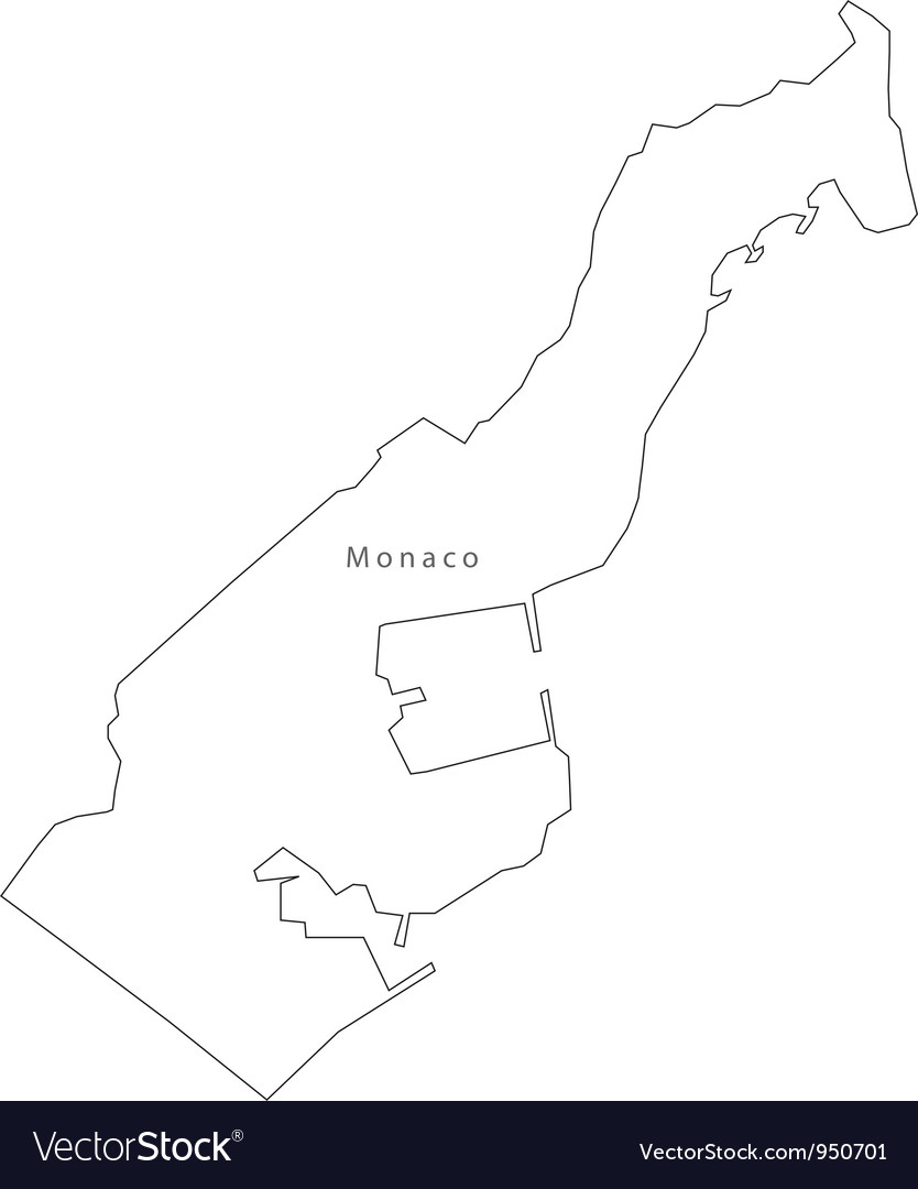 Black white monaco outline map vector | Price: 1 Credit (USD $1)