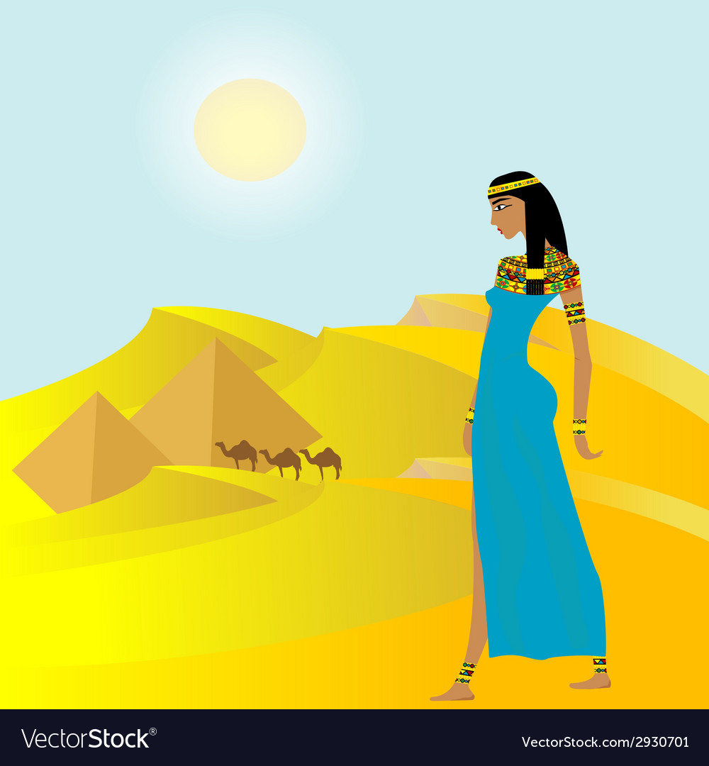 Egyptian background with ancient woman and vector | Price: 1 Credit (USD $1)