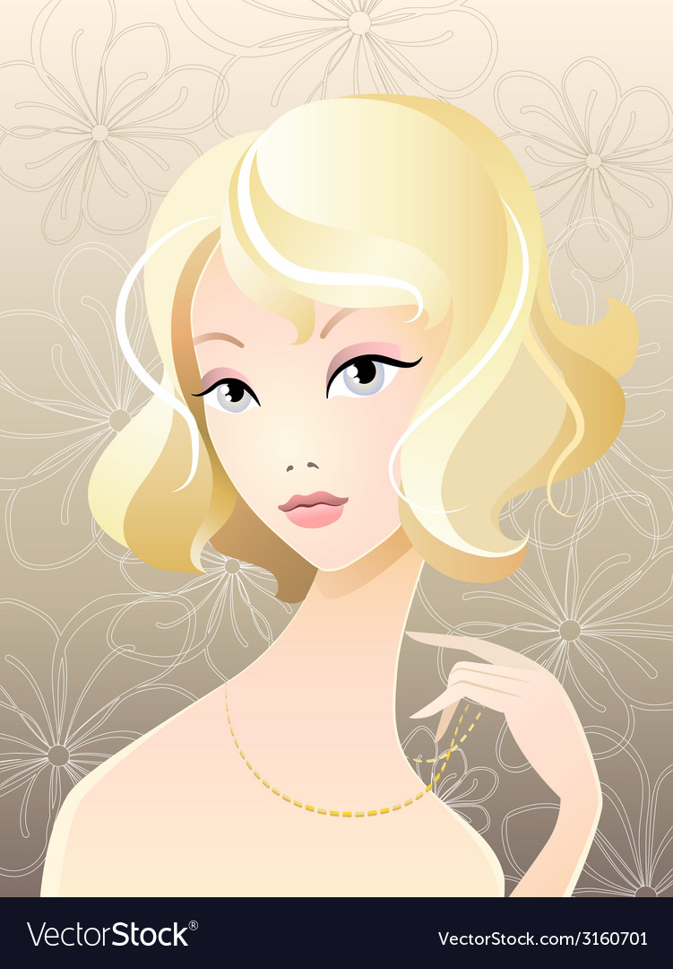Girl blonde portrait vector | Price: 1 Credit (USD $1)
