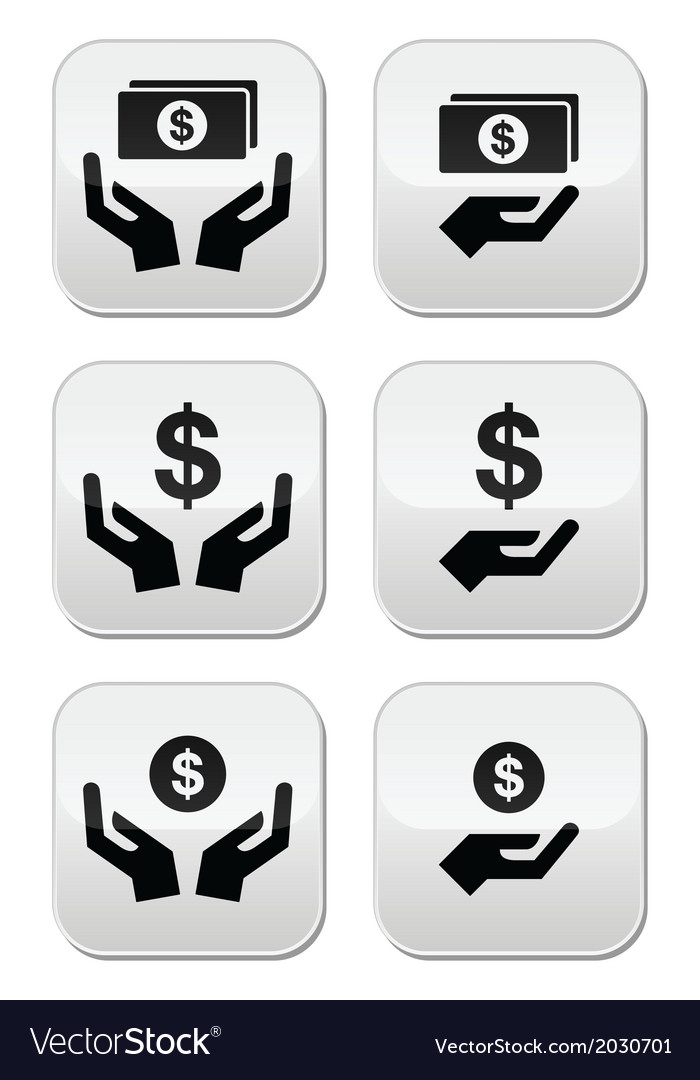 Hands with dollar banknote coin icons set vector | Price: 1 Credit (USD $1)