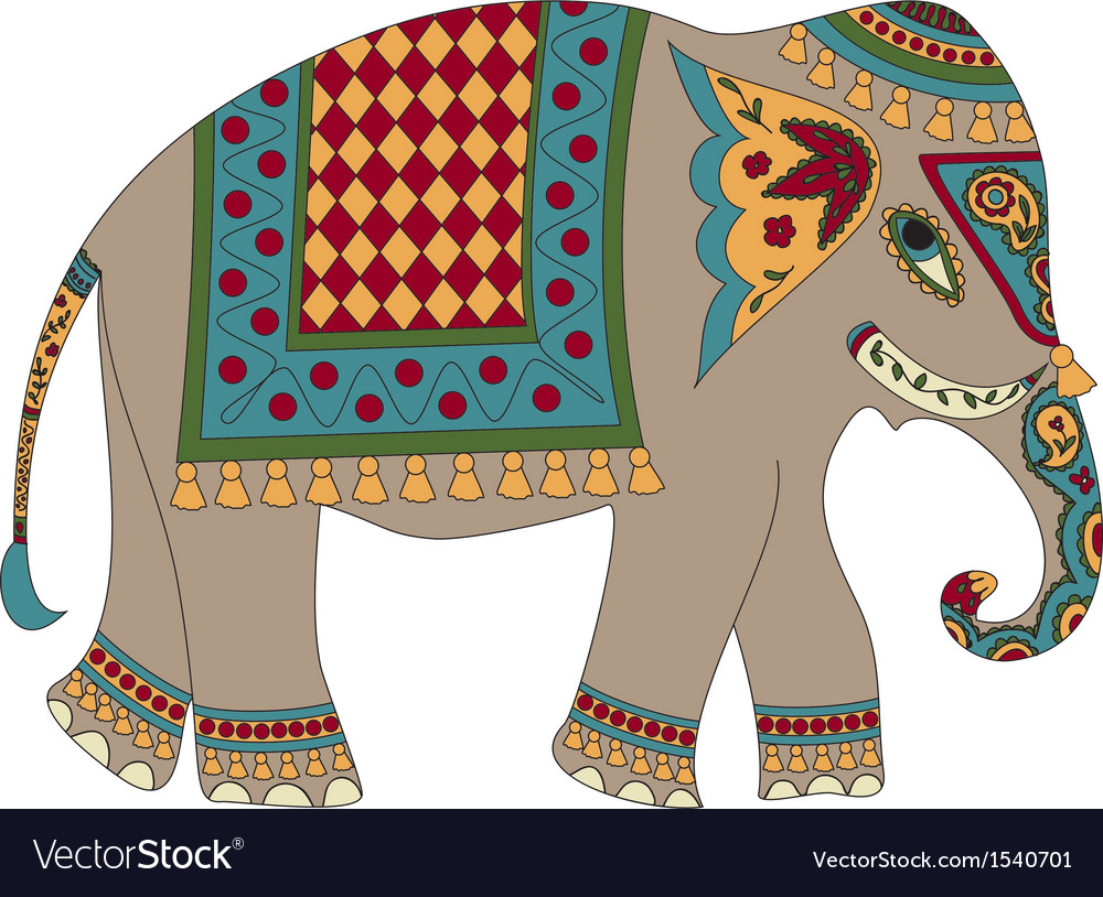 Indian elephant isolated on white vector | Price: 1 Credit (USD $1)