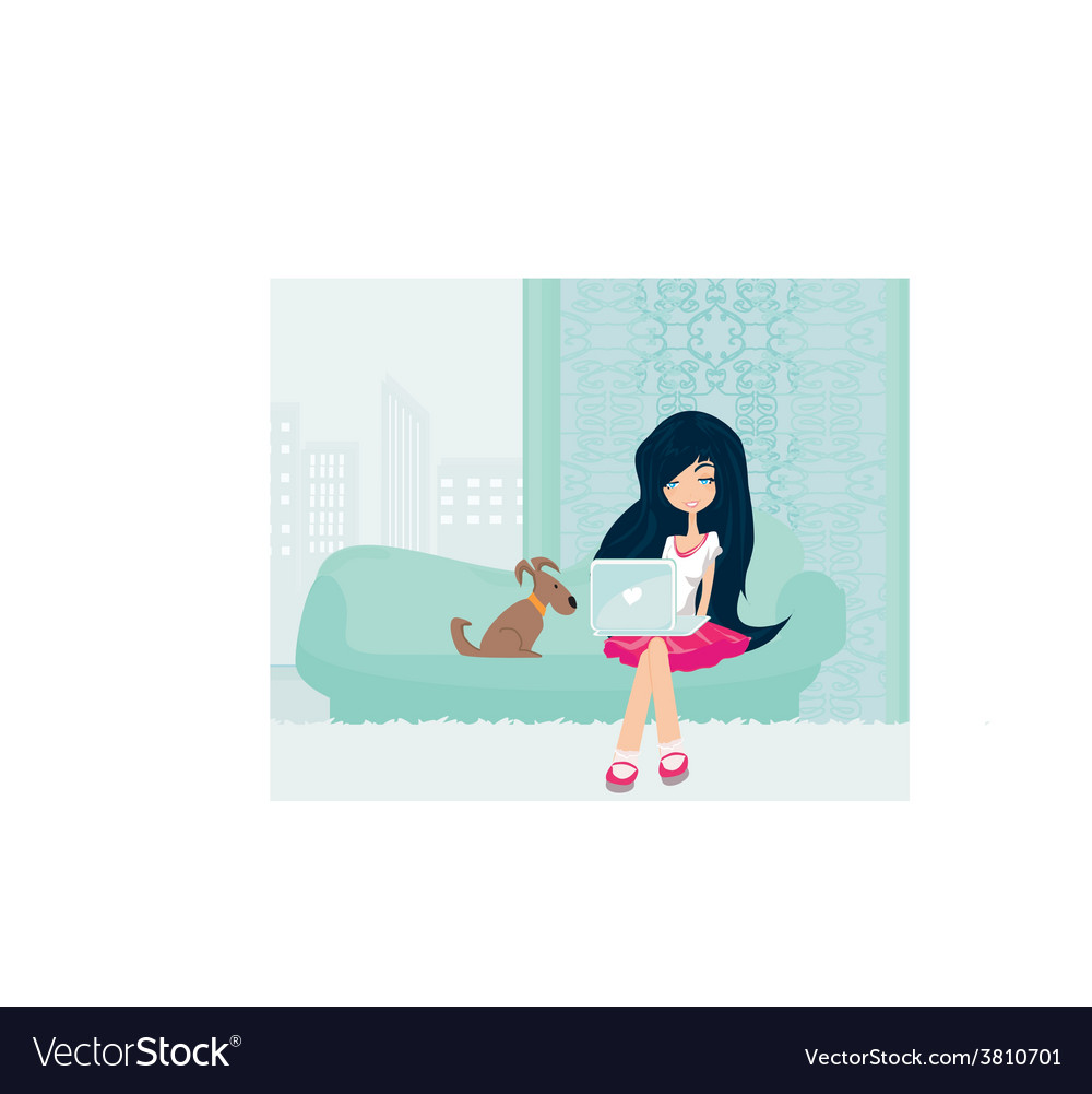 Online shopping - young smiling woman sitting with vector | Price: 1 Credit (USD $1)