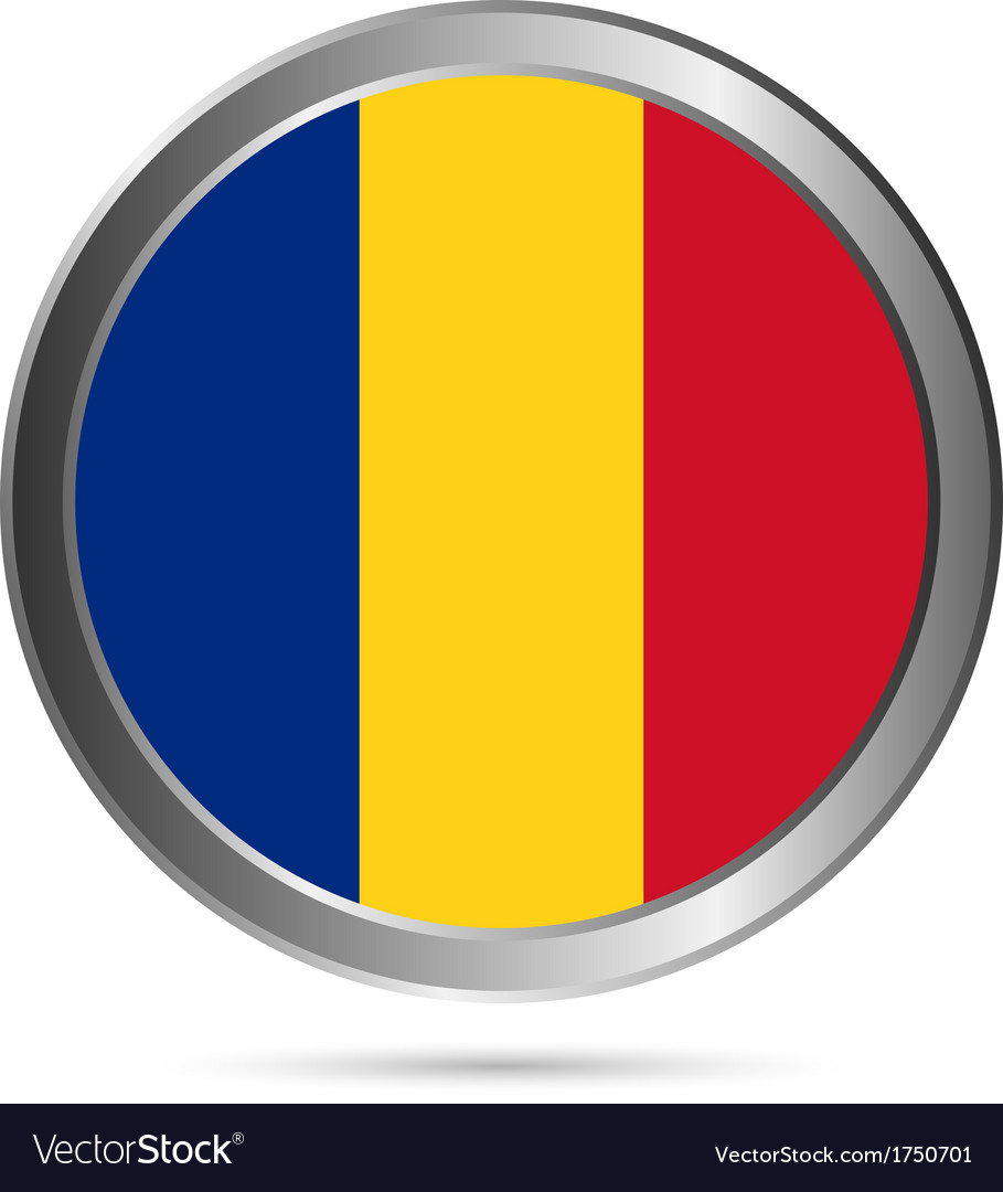 Romania flag button vector | Price: 1 Credit (USD $1)
