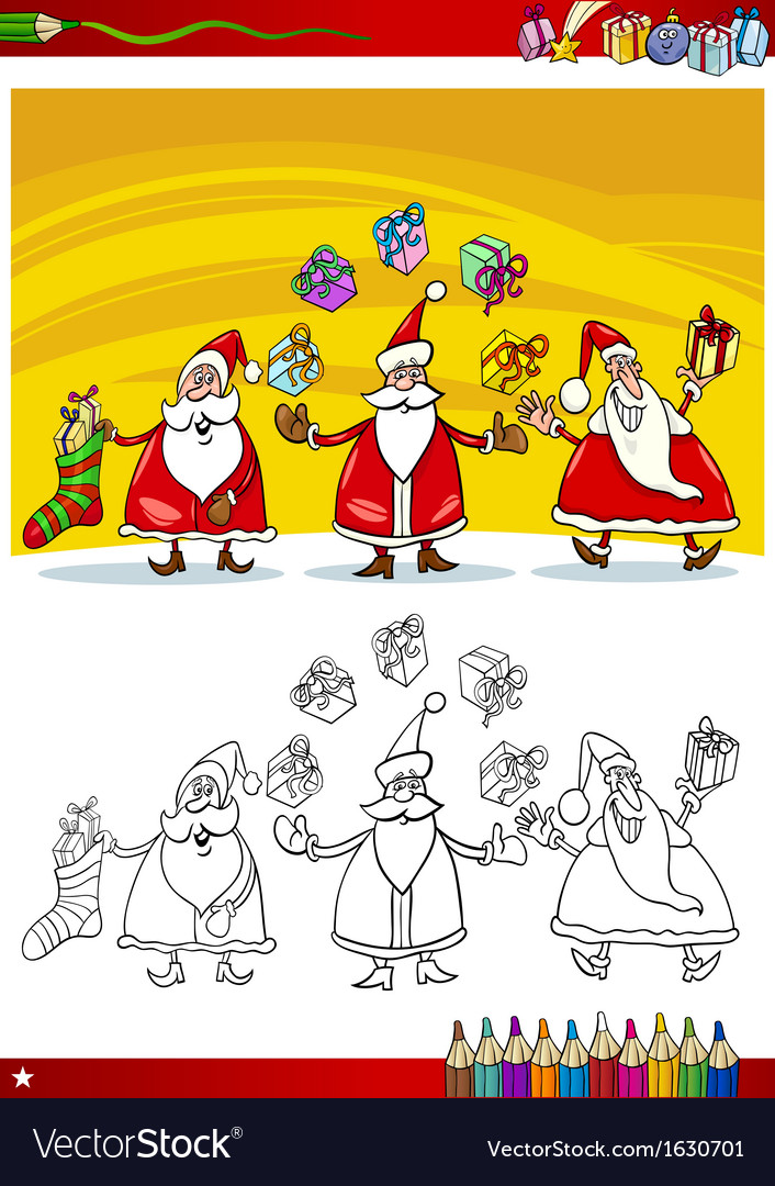 Santa claus group coloring page vector | Price: 3 Credit (USD $3)