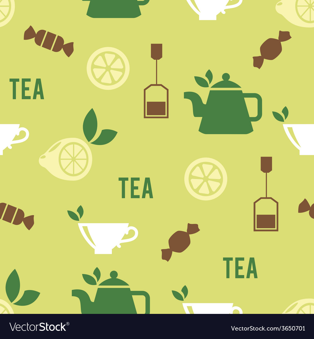 Tea time concept in seamless pattern vector | Price: 1 Credit (USD $1)