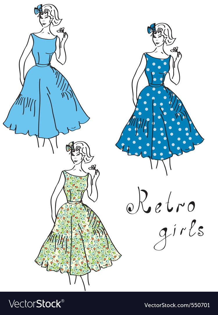 Vintage girls vector | Price: 1 Credit (USD $1)