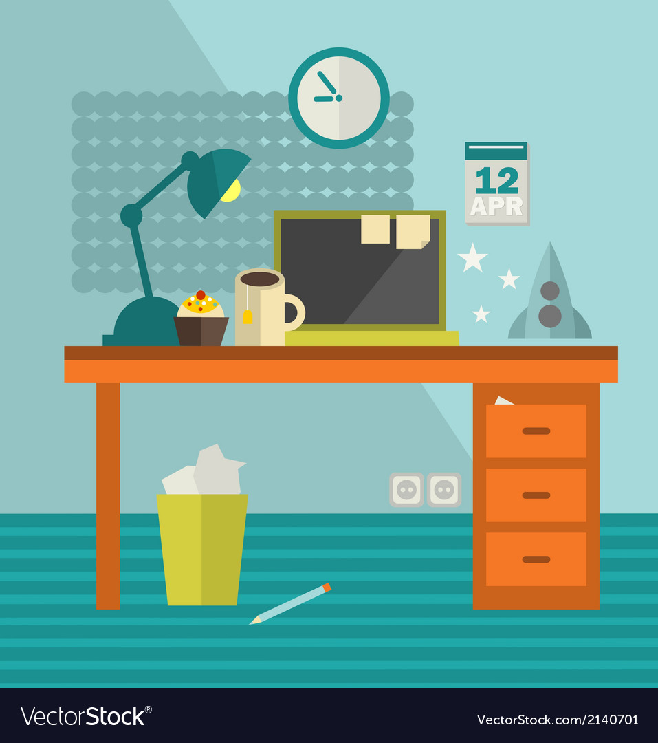 Workplace with modern computer and spaceship vector   Price: 1 Credit (USD $1)