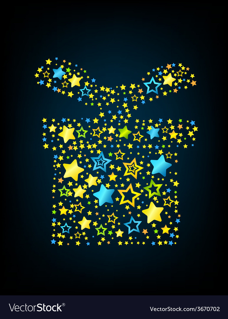 Cartoon star colored gift vector | Price: 1 Credit (USD $1)
