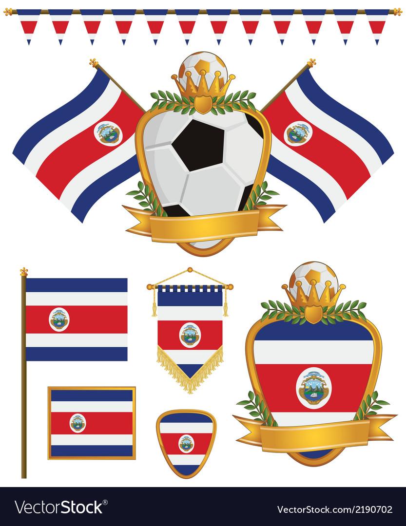 Costa rica flags vector | Price: 1 Credit (USD $1)