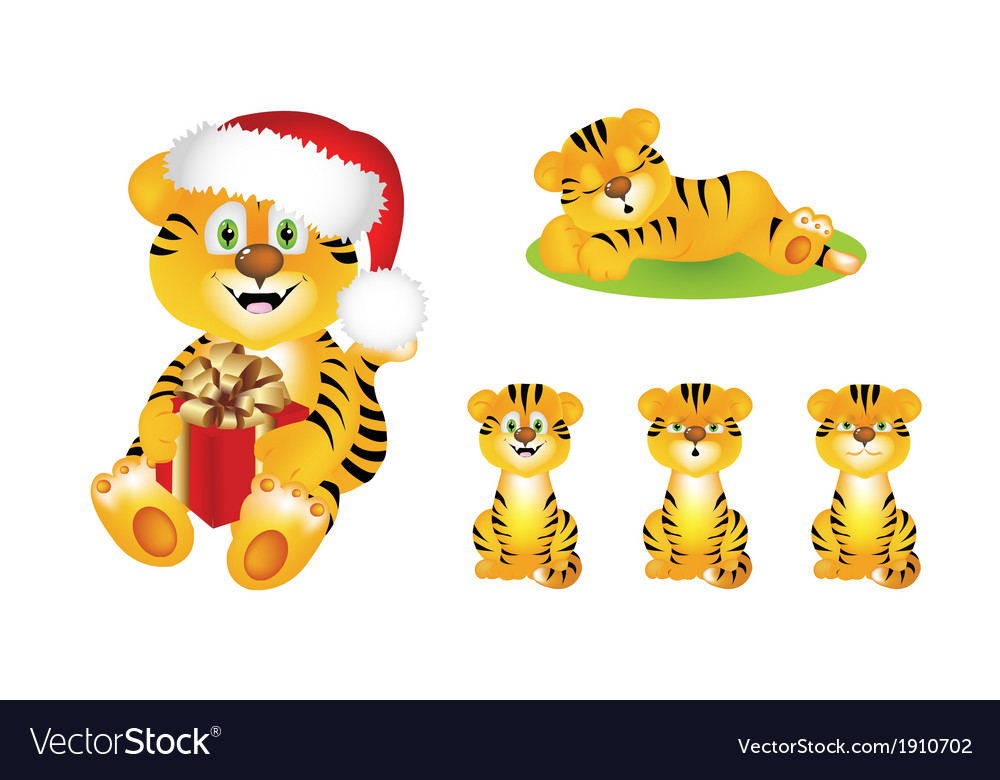 Cute cartoon tiger vector | Price: 1 Credit (USD $1)