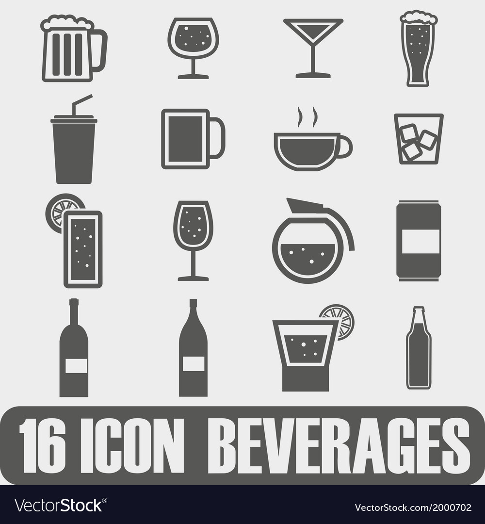 Icon beverages on white background vector | Price: 1 Credit (USD $1)