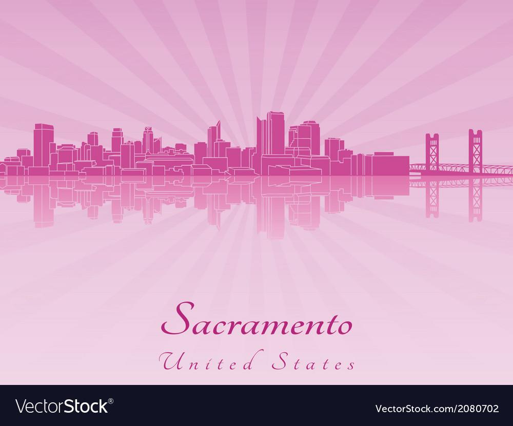 Sacramento skyline in purple radiant orchid vector | Price: 1 Credit (USD $1)
