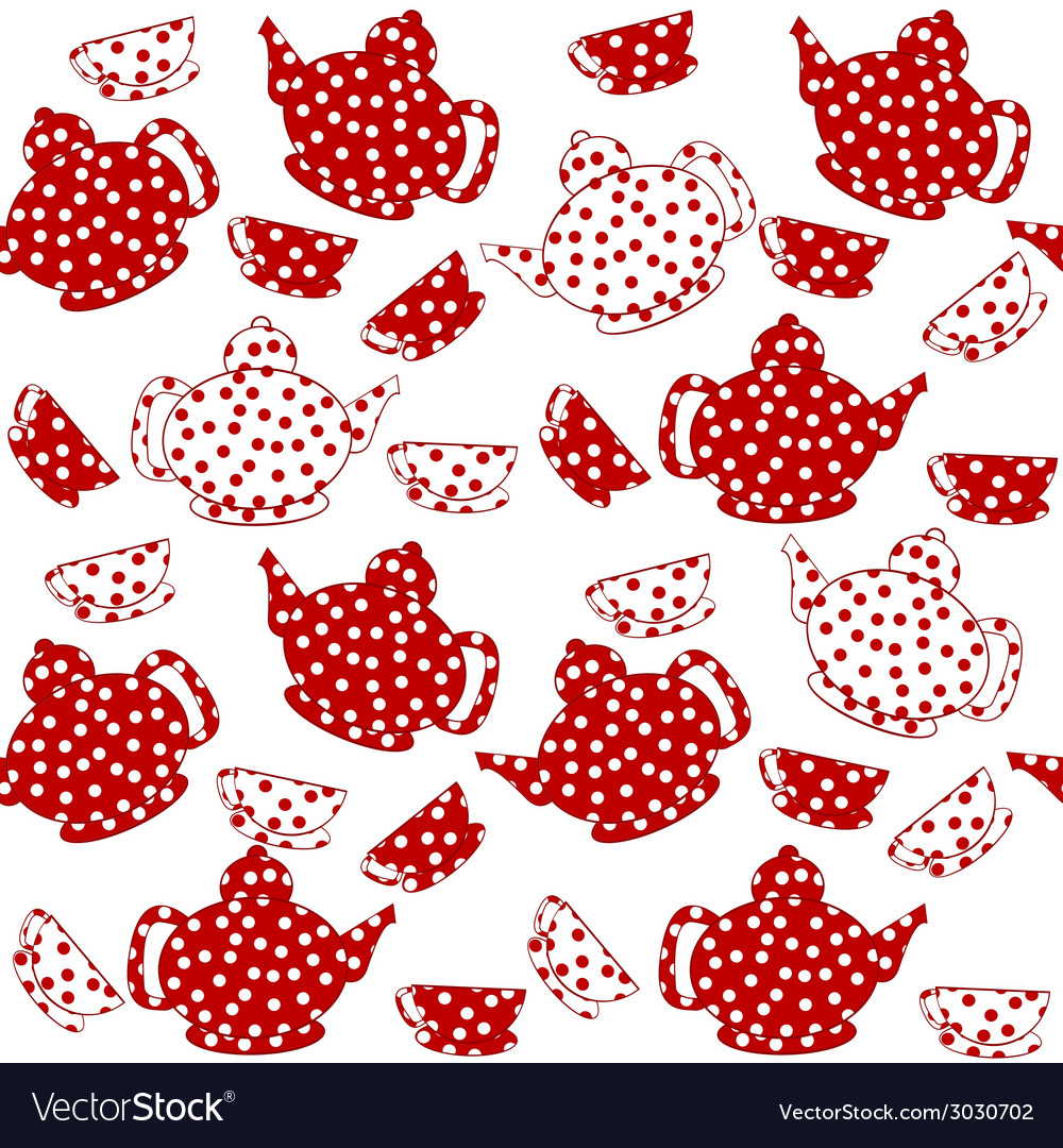 Seamless with red and white kettles and tea cups vector | Price: 1 Credit (USD $1)