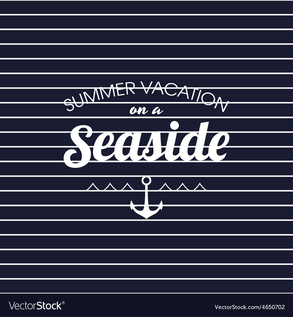 Summer vacation on a seaside striped poster vector | Price: 1 Credit (USD $1)