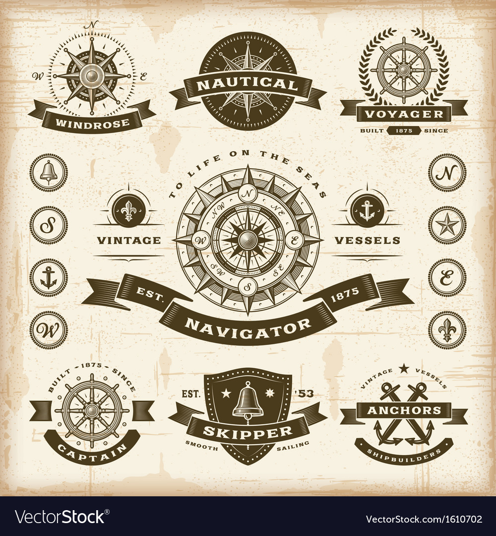 Vintage nautical labels set vector