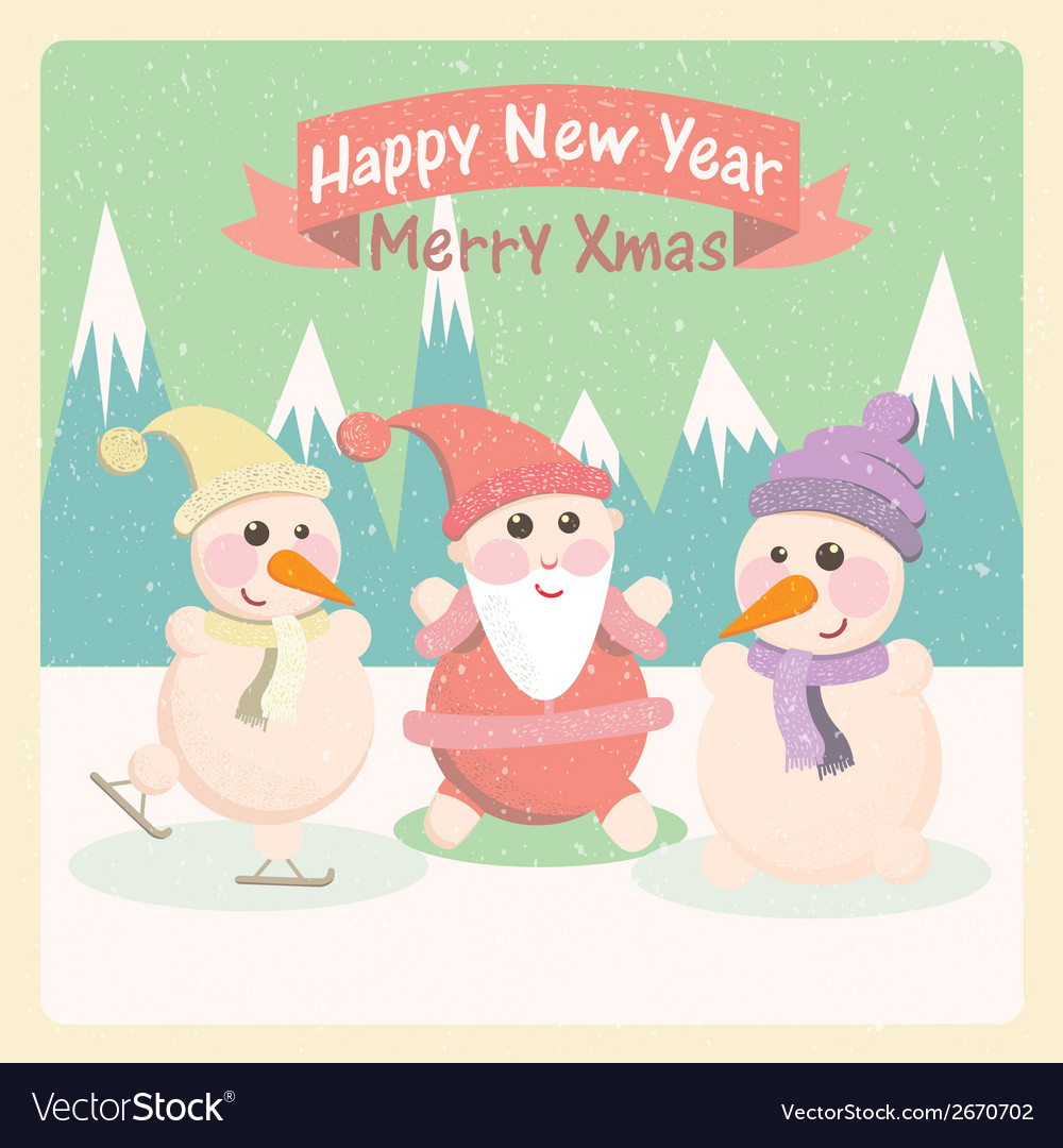 Vintage of a snowman and santa claus among the vector | Price: 1 Credit (USD $1)
