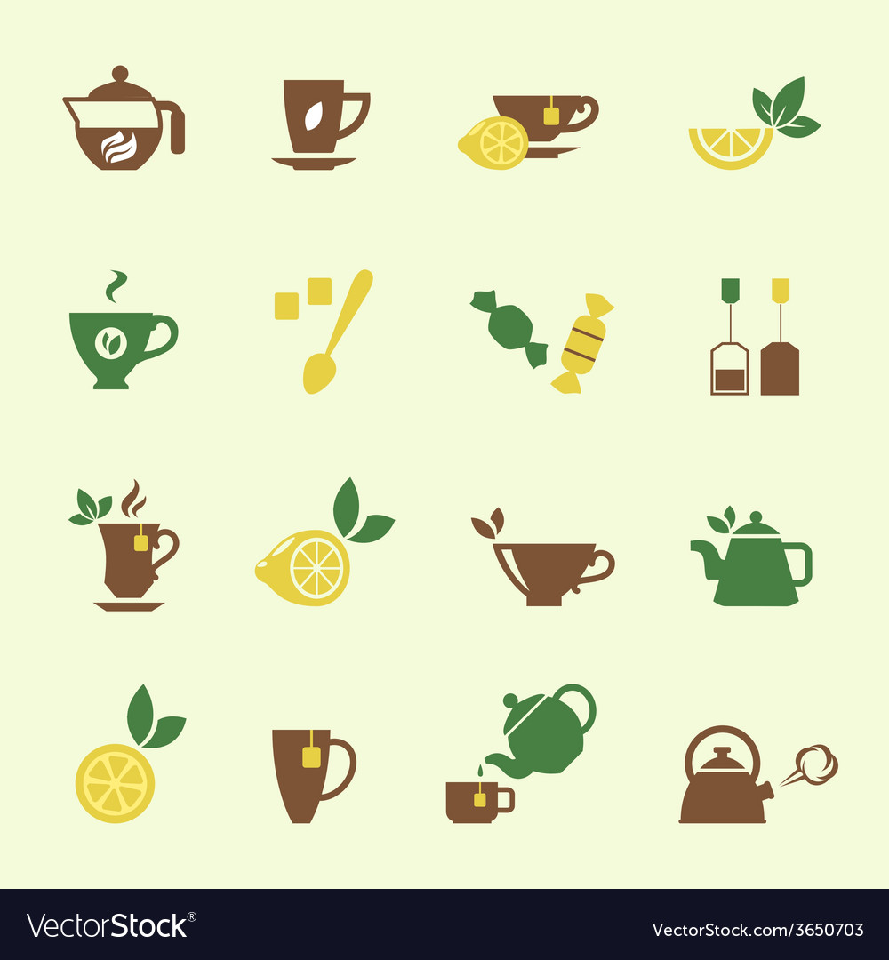 Attractive tea time icon set designs vector | Price: 1 Credit (USD $1)