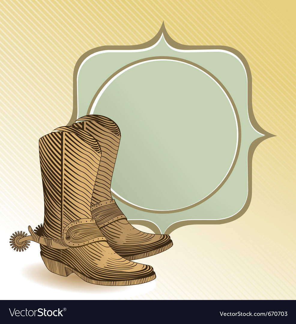 Cowboy boots in engraving style - vector | Price: 1 Credit (USD $1)