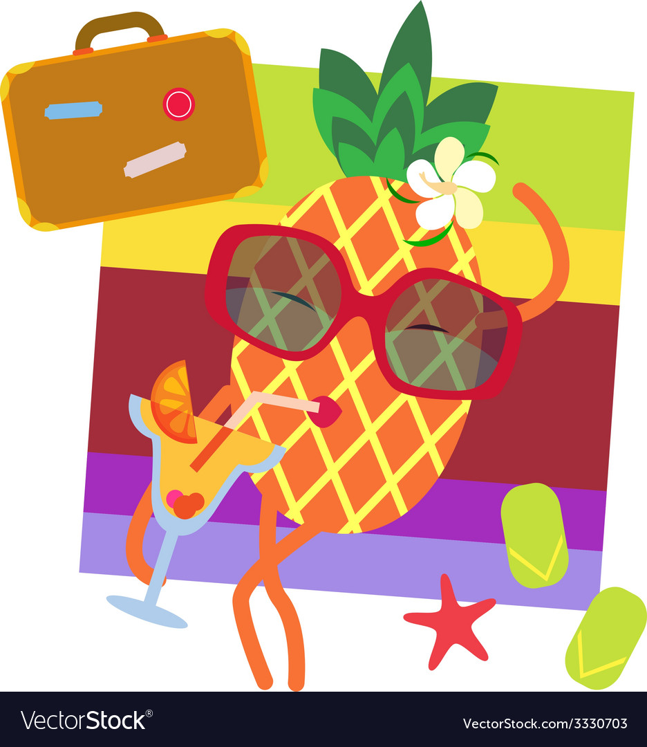 Cute pineapple on vacations vector | Price: 1 Credit (USD $1)