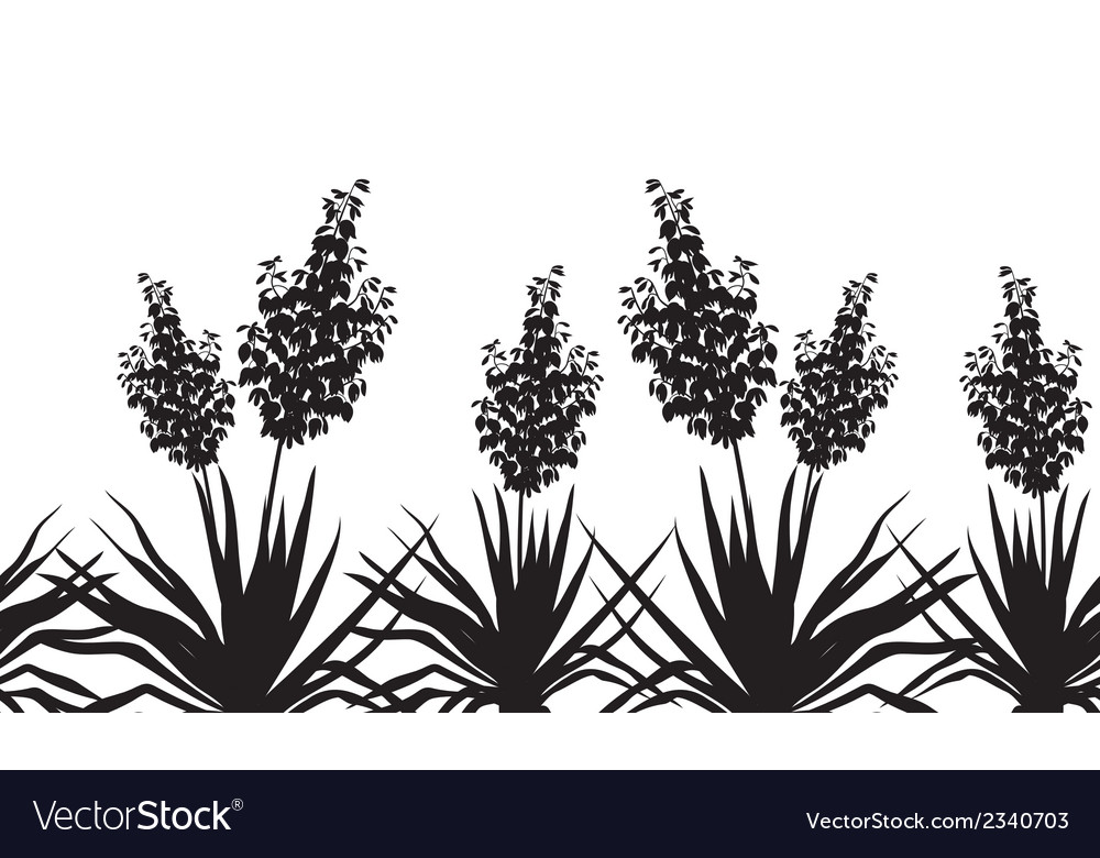 Flowers yucca silhouette horizontal seamless vector | Price: 1 Credit (USD $1)