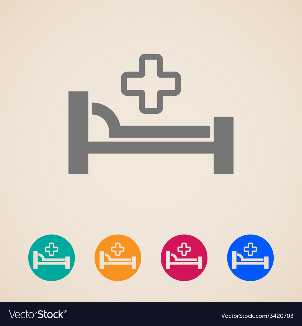 Icons with bed and cross hospital sign vector | Price: 1 Credit (USD $1)