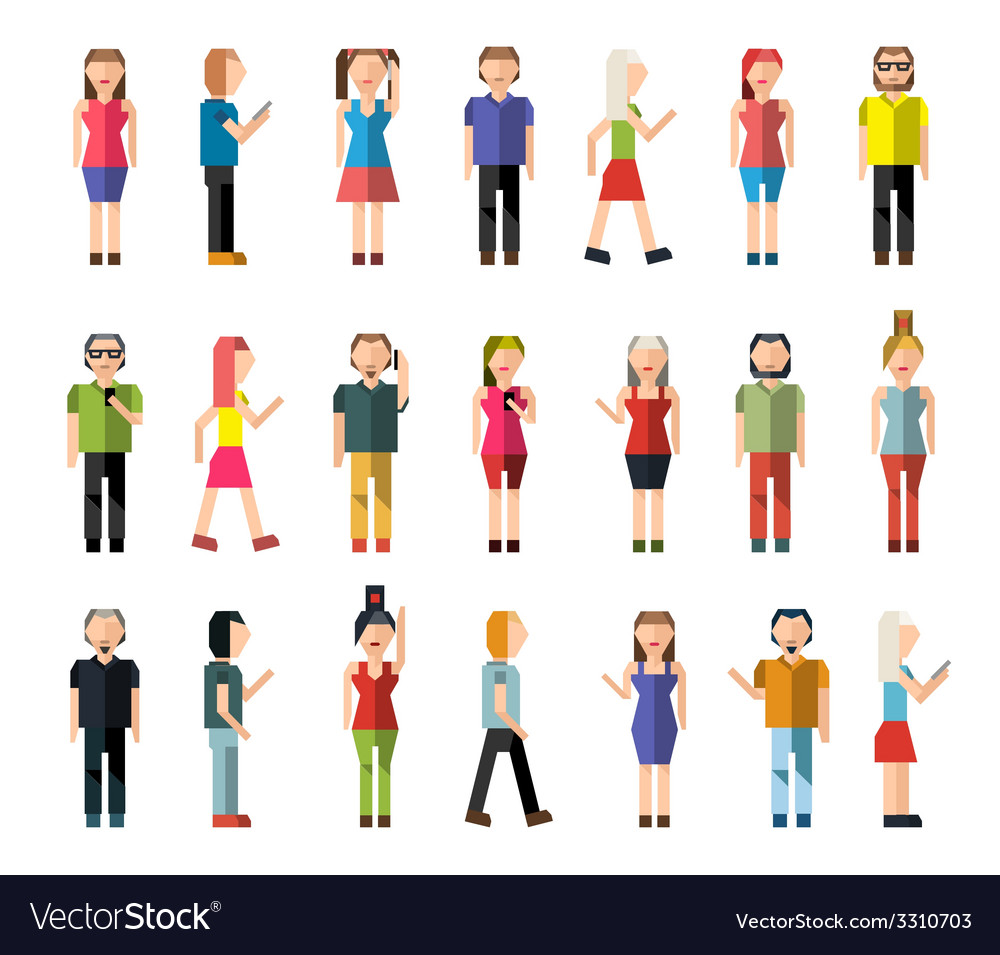 People pixel avatars vector | Price: 1 Credit (USD $1)