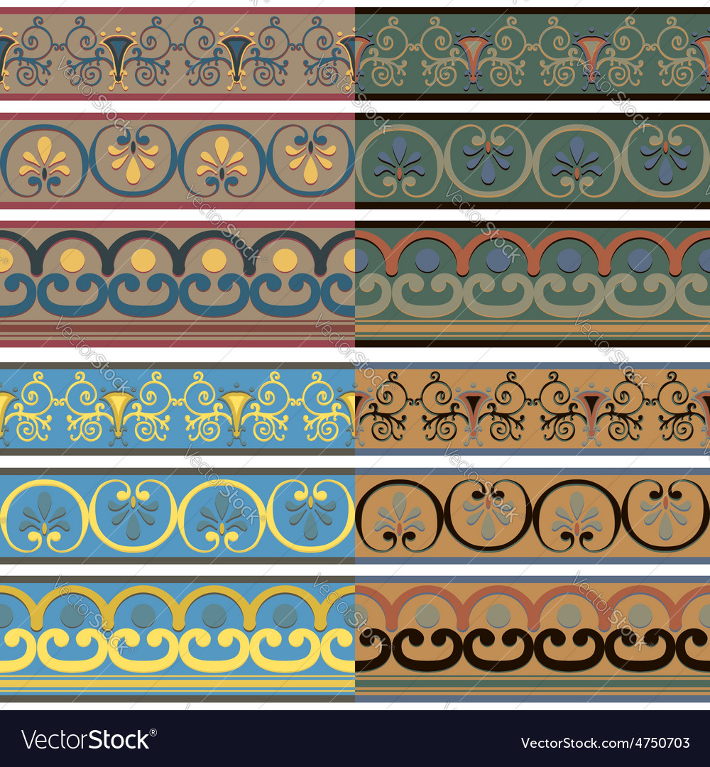 Set of seamless greek patterns of different colors vector | Price: 1 Credit (USD $1)