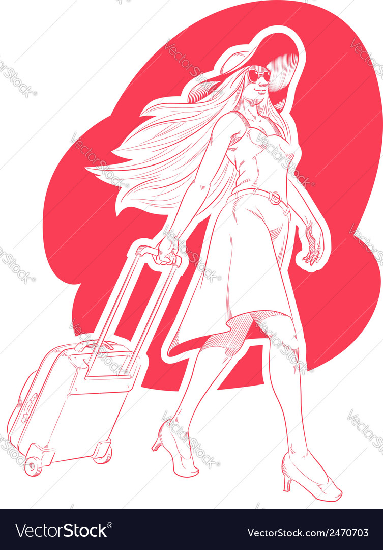 Sketch of woman tourist travelling vector | Price: 1 Credit (USD $1)