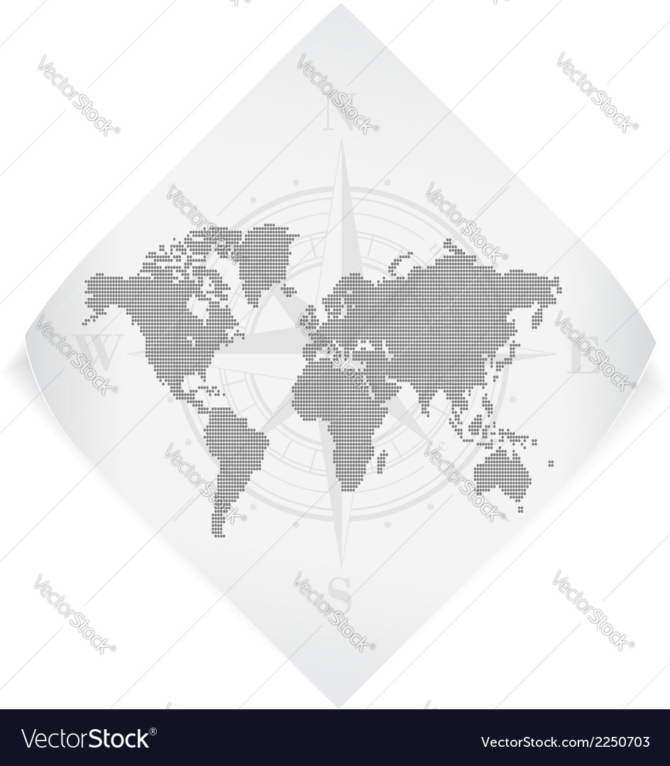 World map over white paper sticker isolated on vector | Price: 1 Credit (USD $1)